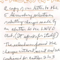 Note Describing Letter Rebutting Charges Made by Abutter to the LWVO, 1990
