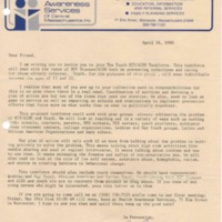 Circular letter to Dear Friend  on Youth HIV/AIDS Taskforce from Jerry Cheney, AIDS Health Educator, Health Awareness Services, April 16, 1990