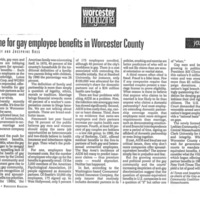 It's Time for Gay Employee Benefits in Worcester County, May 1993