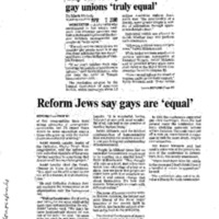 City rabbi says vote affirms gay unions 'truly equal',Telegram and Gazette (April 7, 2000)