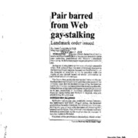 Pair barred from Web gay-stalking,Telegram and Gazette (April 3, 1998)