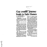 Gay youths' journey leads to Safe Homes,Telegram and Gazette (October 16, 2000)