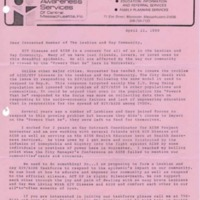 Circular letter to concerned members of the lesbian and gay community from Jerry Cheney, AIDS Health Educator, Health Awareness Services, April 11, 1990