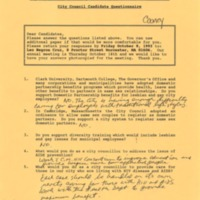GLCCCM City Council Candidate Questionnaire - Cooney, October 1993